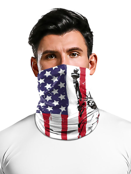Milanoo Cycling Accessories Face Cover Seamless Bandana 4th Of July American Flag Print Motorcycle Outdoor Tube Covering