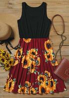 Sunflower Splicing Ruffled Mini Dress - Burgundy