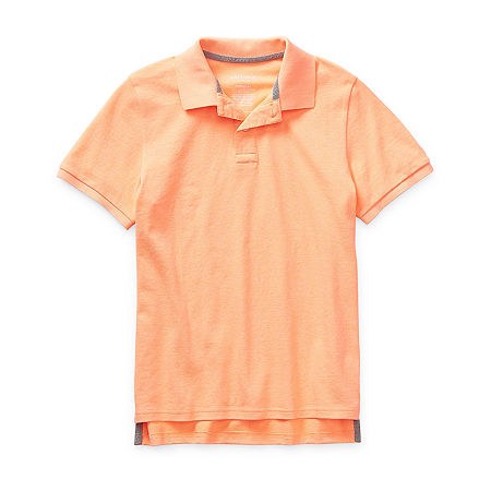 Arizona Little & Big Boys Short Sleeve Polo Shirt, 18-20 Husky , Orange