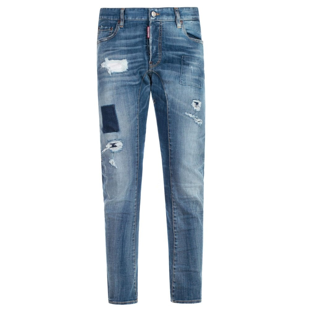 DSquared2 Faded Tidy Biker Jeans Colour: BLUE, Size: 34 30