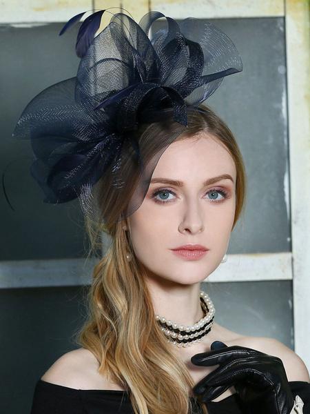 Milanoo Retro Fascinator Hat Deep Blue Headpieces Royal Hair Accessories Halloween Costume