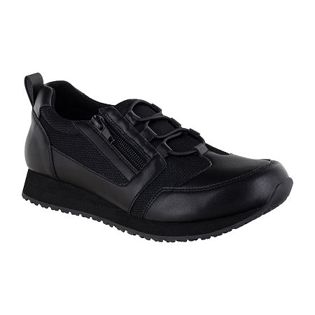 Easy Works By Easy Street Womens Mckinley Round Toe Oxford Shoes, 8 Wide, Black