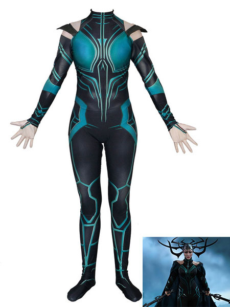 Milanoo Marvel Comics Marvel Comics Cosplay Dark Green Film Hela Lycra Spandex Jumpsuit Marvel Comics Cosplay Costume