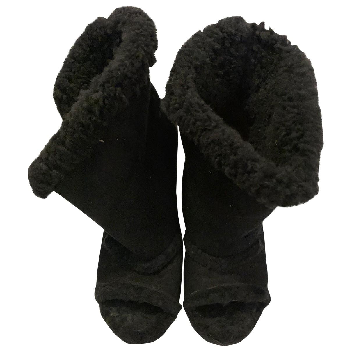 Maison Martin Margiela \N Black Suede Ankle boots for Women 38 IT