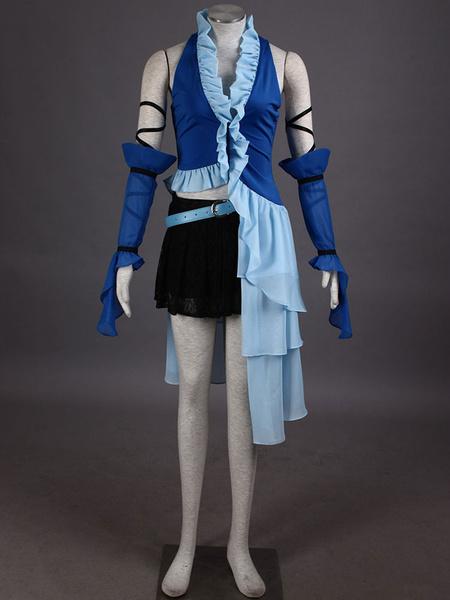 Milanoo Final Fantasy Ruffles Mesh PU Cosplay Costume  Halloween