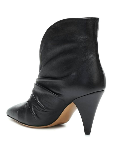Milanoo Women Ankle Boots Black Cowhide Pointed Toe Chunky Heel Ruched Booties