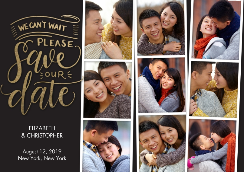 Classic 5x7 Cards, Premium Cardstock 120lb with Rounded Corners, Card & Stationery -Save the Date Filmstrips