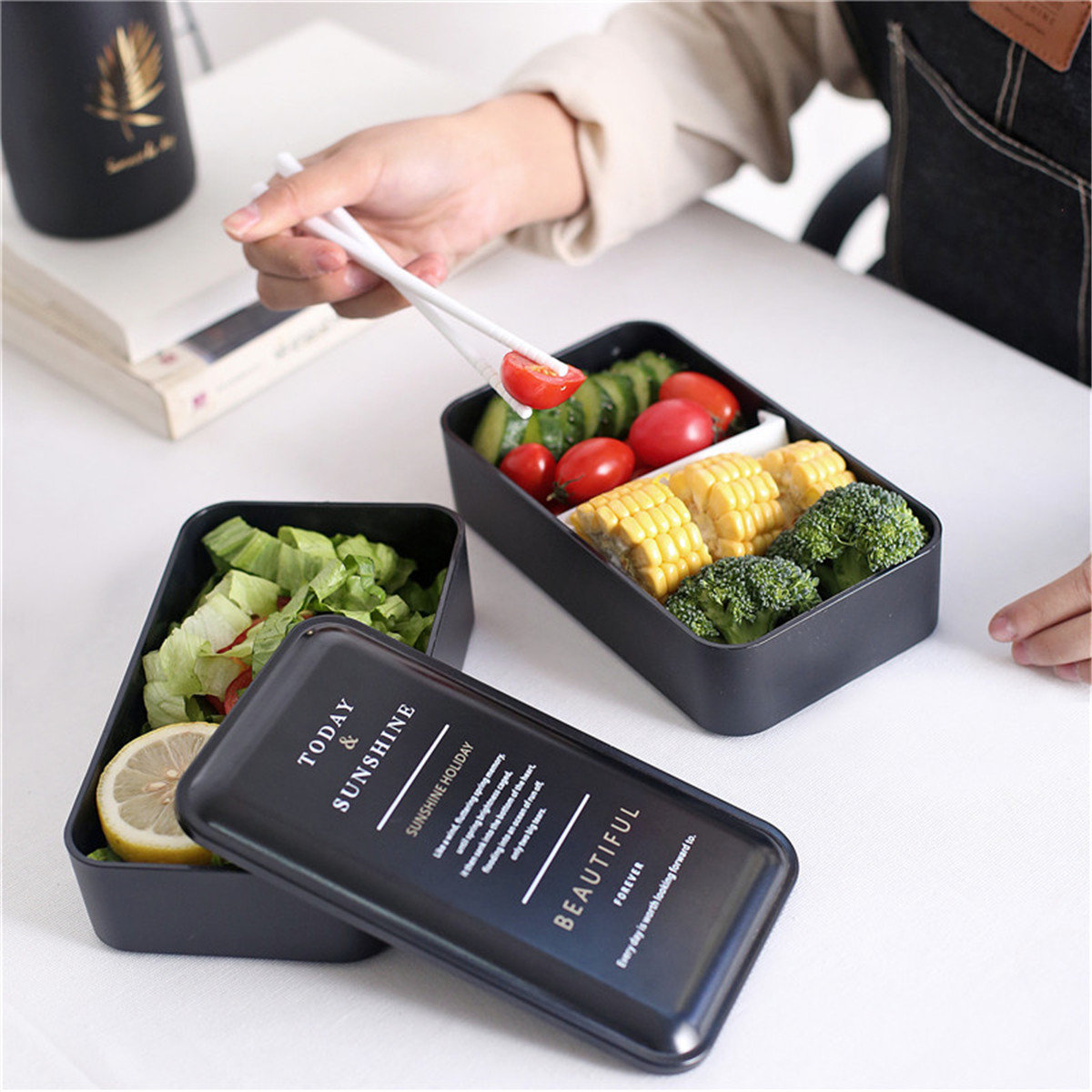 Double Layer Lunch Box Food Storage Container Microwave Oven Portable Bento Box