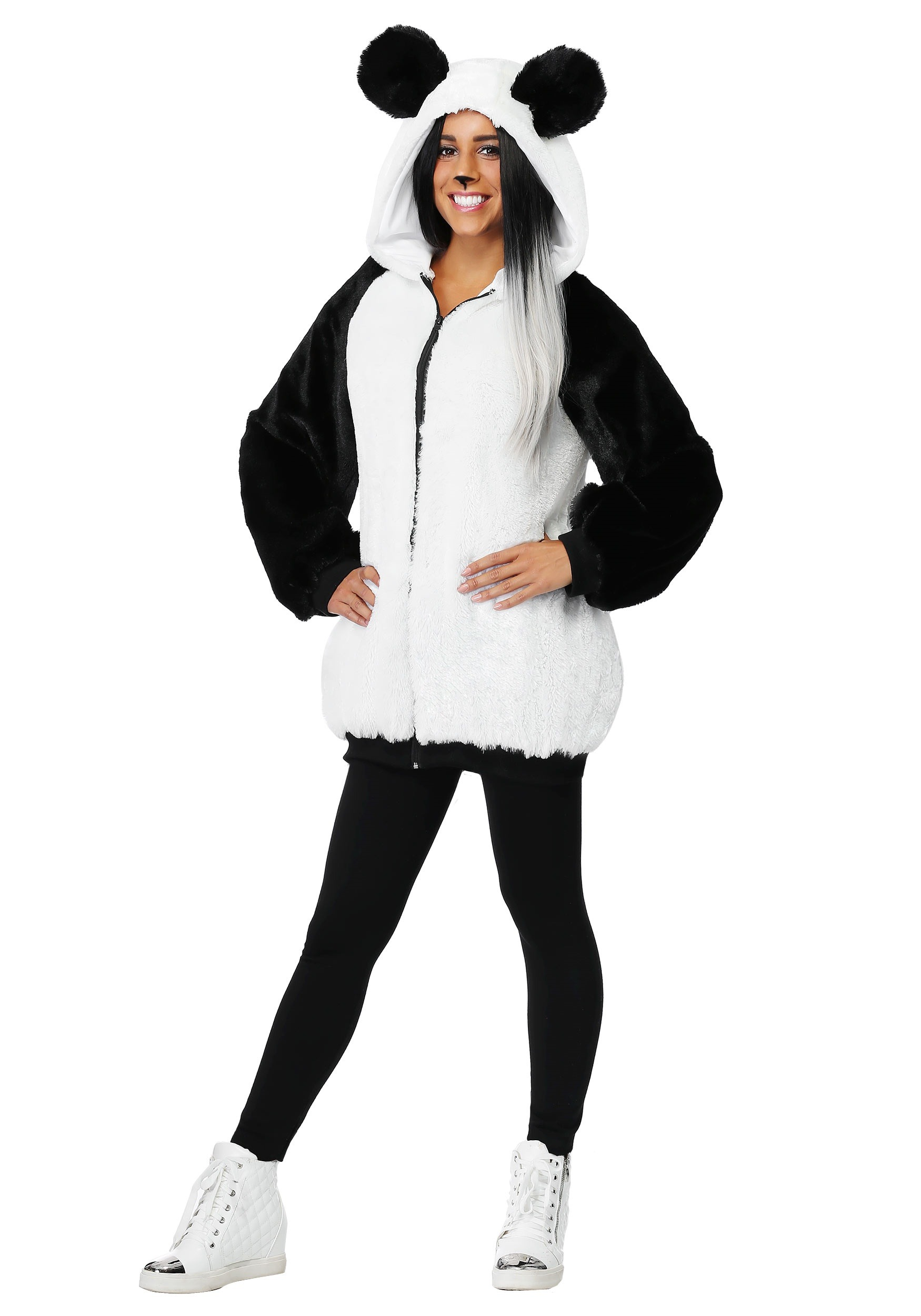 Women's Plus Size Panda Hooded Jacket Costume 1X 2X