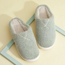 Letter Embroidery Fluffy Slippers