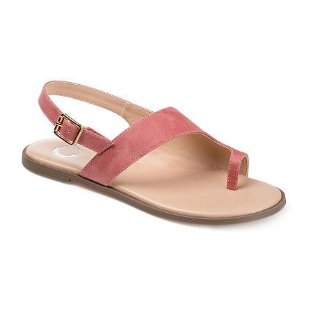 Journee Collection Womens Gidget Adjustable Strap Flat Sandals, 8 Medium, Pink