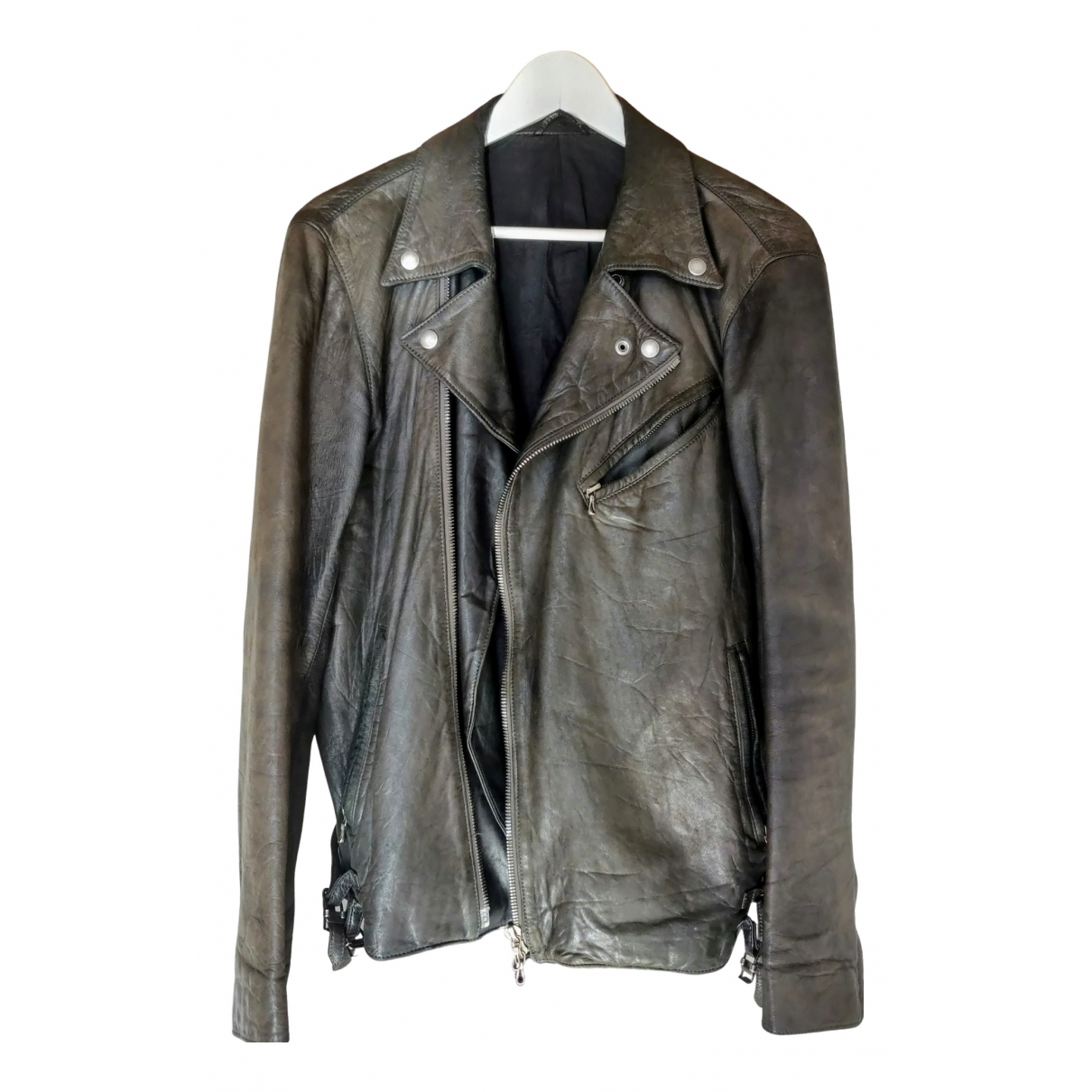 Attachment \N Grey Leather jacket  for Men 2 0 - 6