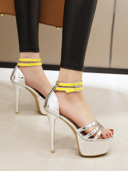 Milanoo High Heel Sexy Sandals PU Leather Round Toe Sexy Shoes
