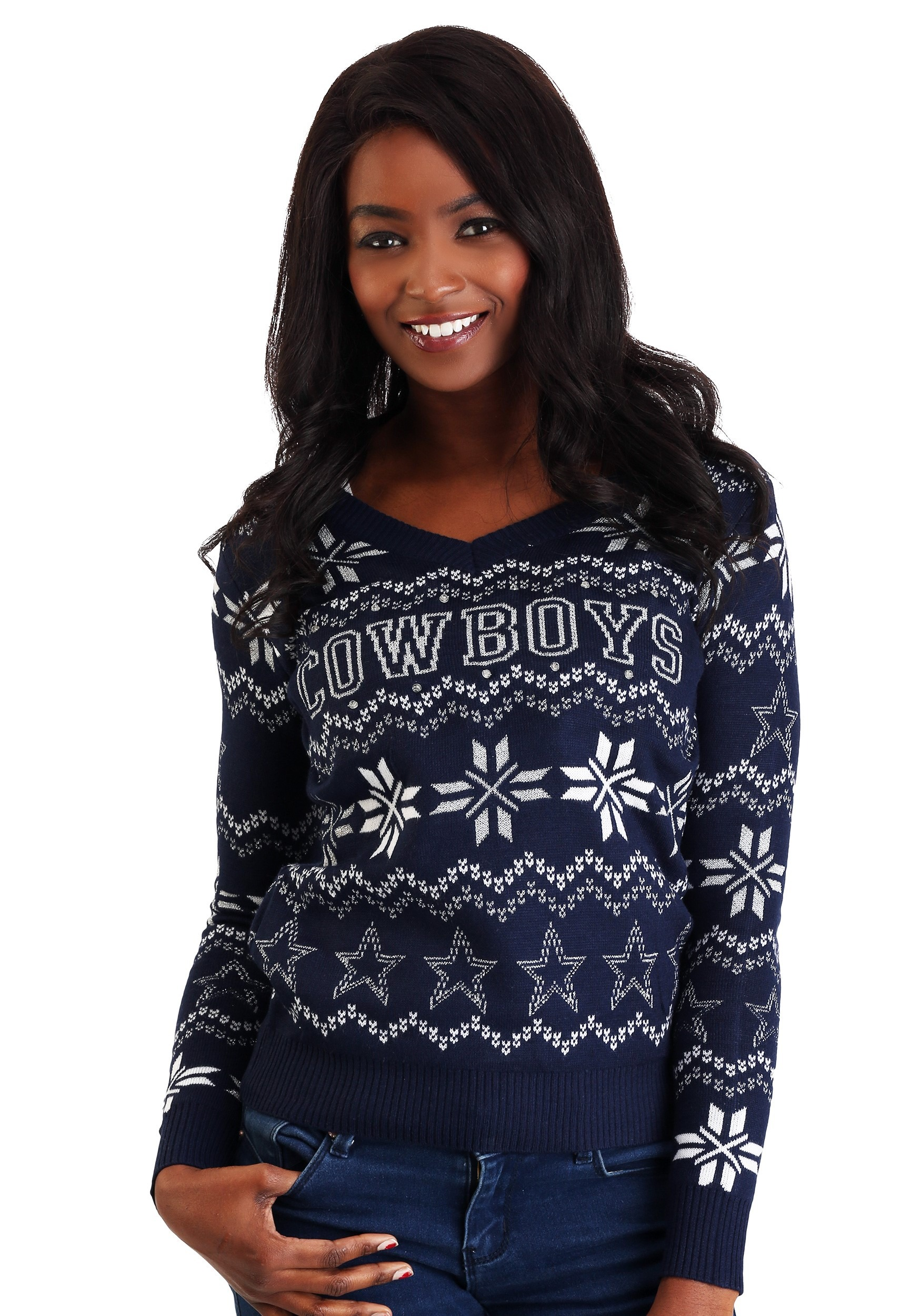 Women's Dallas Cowboys Light Up V-Neck Ugly Christmas Sweater