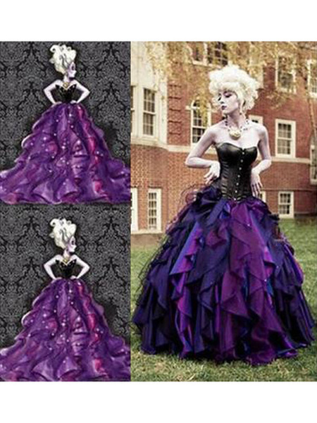 Milanoo Disney The Little Mermaid Ursula Dress Cosplay Costumeb Halloween
