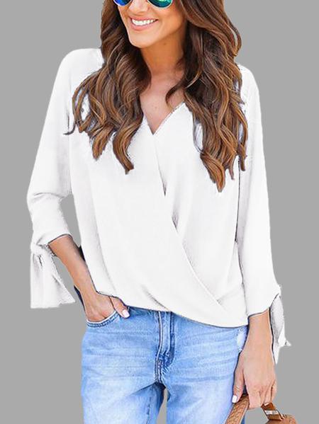 Yoins White Crossed Front Design V-neck Long Sleeves Blouse