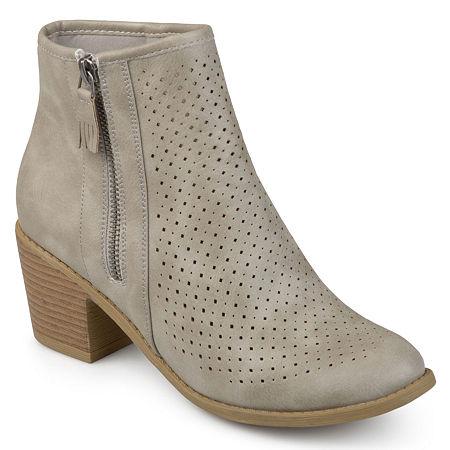 Journee Collection Womens Meleny Booties Stacked Heel, 8 Medium, Gray