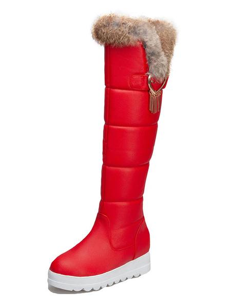 Milanoo Sweet Lolita Boots Cony Hair PU Metallic Round Toe Red Lolita Snow Boots