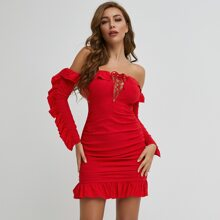Lace Up Knot Ruffle Trim Ruched Bodycon Dress
