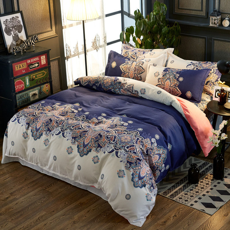 Blue Floral Colorfast Duvet Cover Set 4-Piece Reactive Printing Polyester Zipper Bedding Sets