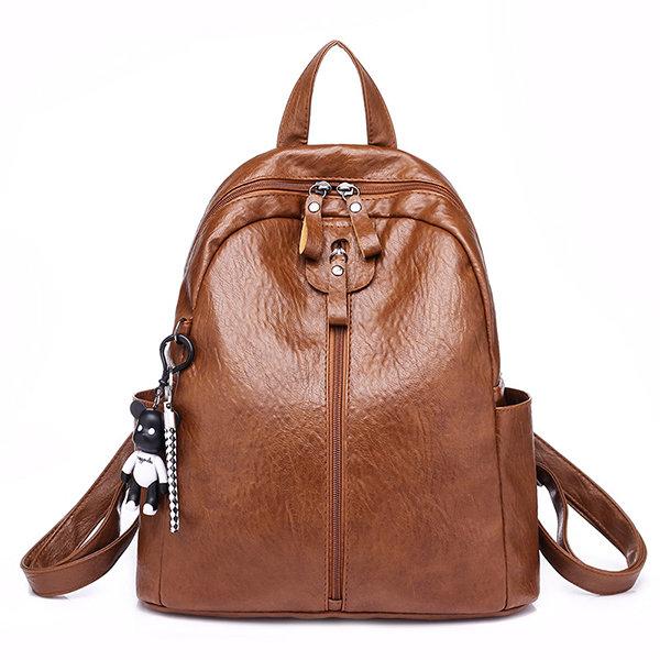 Women Soft Leather Backpack Travel Large Capacity Shoulder Bag