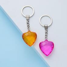 2pcs Crystal Heart Key Chain