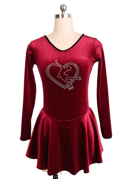 Milanoo Skating Dress Burgundy Korean Velvet Long Sleeves Dance Costumes