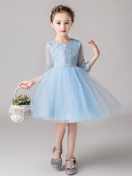 Milanoo Flower Girl Dresses Jewel Neck Half Sleeves Bows Kids Party Dresses