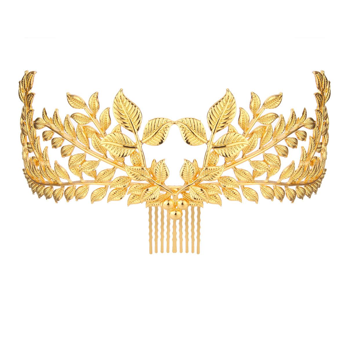 Vintage 20's Headpiece Comb Bride Gold Leaf Headdress Headband Roman Hair Crown
