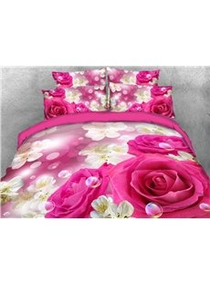 Vivilinen 3D Pink Rose with Sakura Printed 4-Piece Bedding Sets/Duvet Covers