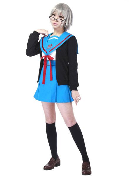Milanoo The Melancholy of Haruhi Suzumiya Nagato Yuki Halloween Cosplay Costume Seifuku Cosplay  Halloween