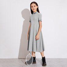 Girls Mock Neck Letter Graphic Dress