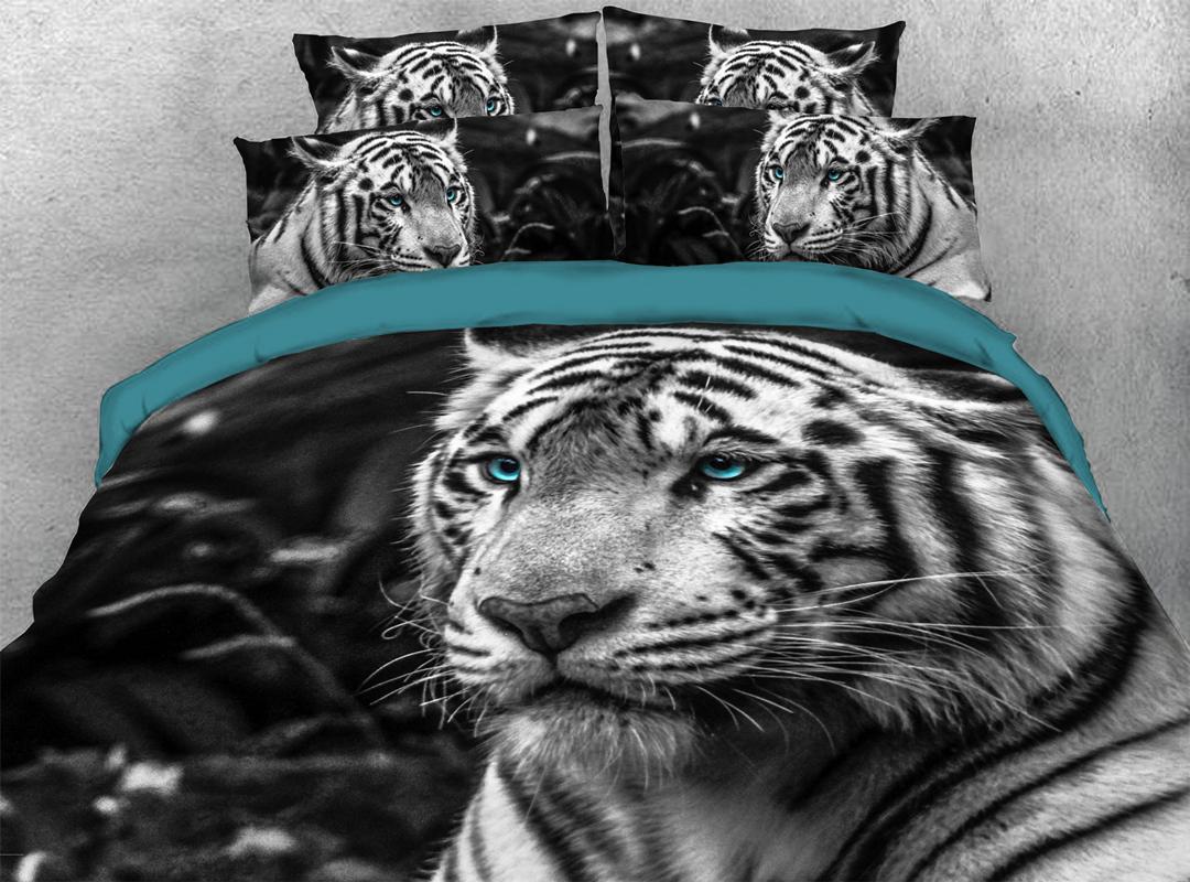 3D Tiger 5 Pcs Breeze Comforter Set Warm Soft Lightweight White Down Comforter