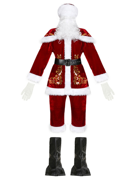 Milanoo Men Christmas Set Red Guilding Christmas Pattern Santa Clause Holidays Costumes
