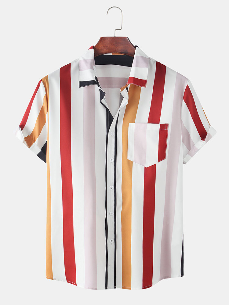 Mens Holiday Colorful Vertical Stripe Short Sleeve Shirt