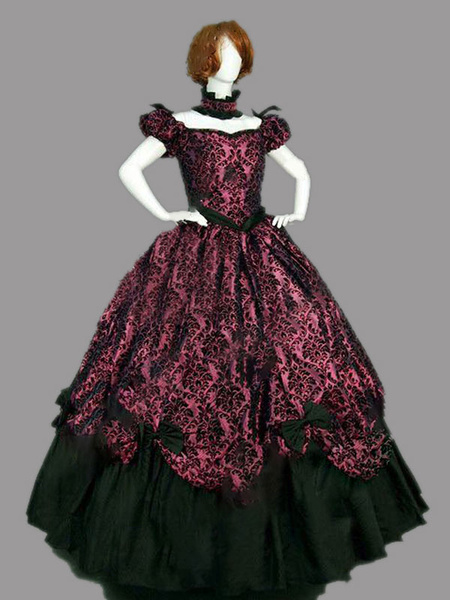 Milanoo Victorian Dress Costme Women's Burgundy Short Sleeves with Choker Ball Gown Jacquard Bow Ruffle Marie Antoinette Victorian Era Clothing Costum