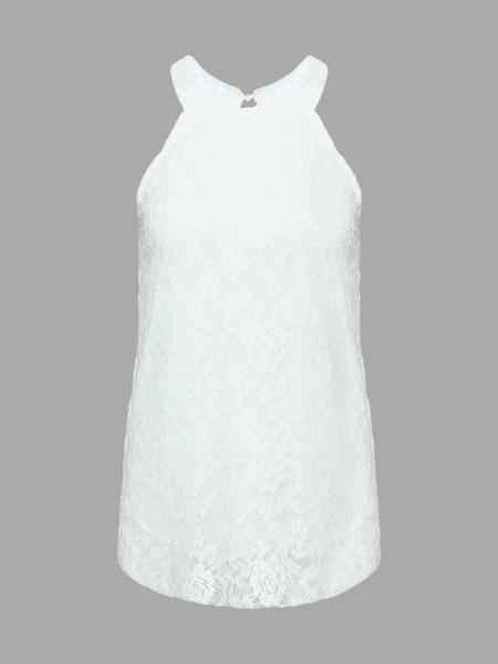 Yoins White Lace Vest With Halter Neck