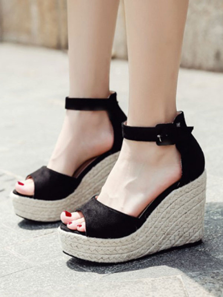 Milanoo Shoes Wedge Sandals Black Flannel