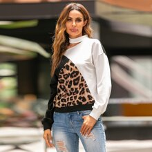 Asymmetrical Neck Leopard Panel Sweatshirt