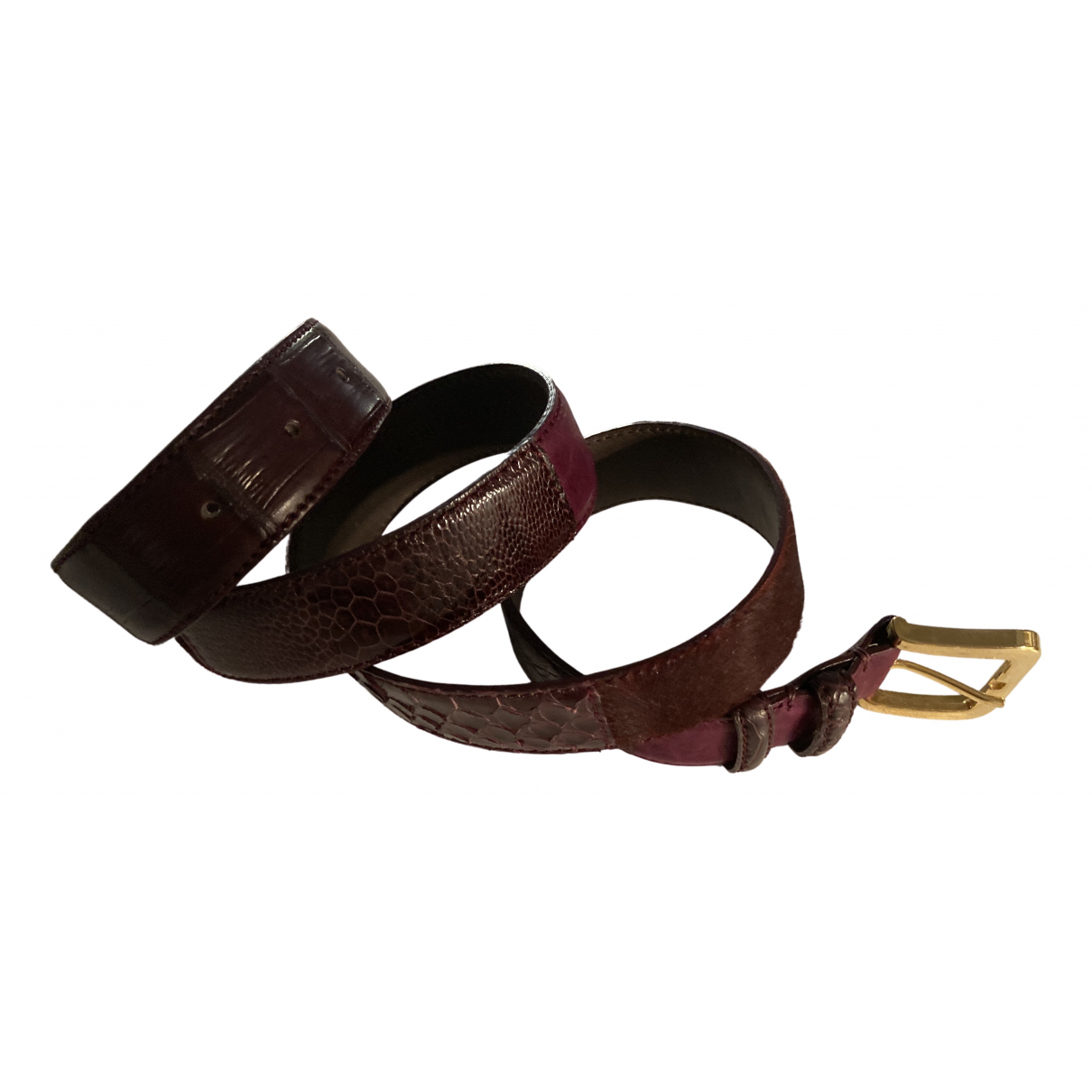 Non Signé / Unsigned Hippie Chic Burgundy Exotic leathers belt for Women 95 cm