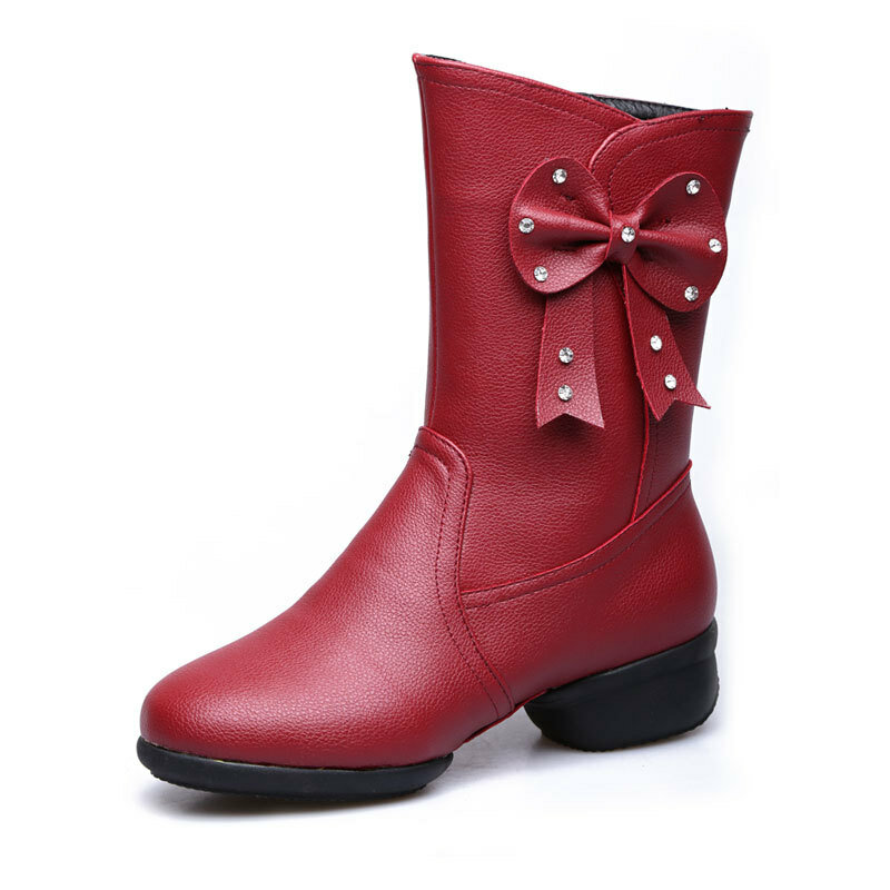 Large Size Bowknot Mid Calf Casual Knight Boots