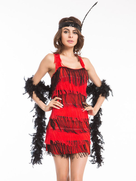 Milanoo Flapper Dress 1920s Fashion Style Outfits Great Gatsby Two Tone Fringe Strappy Bow Costume Women Retro Costume party Dress Halloween