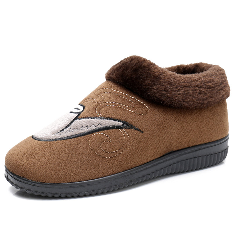 Men Fabric Fur Lining Slip On Warm Casual Snow Slippers