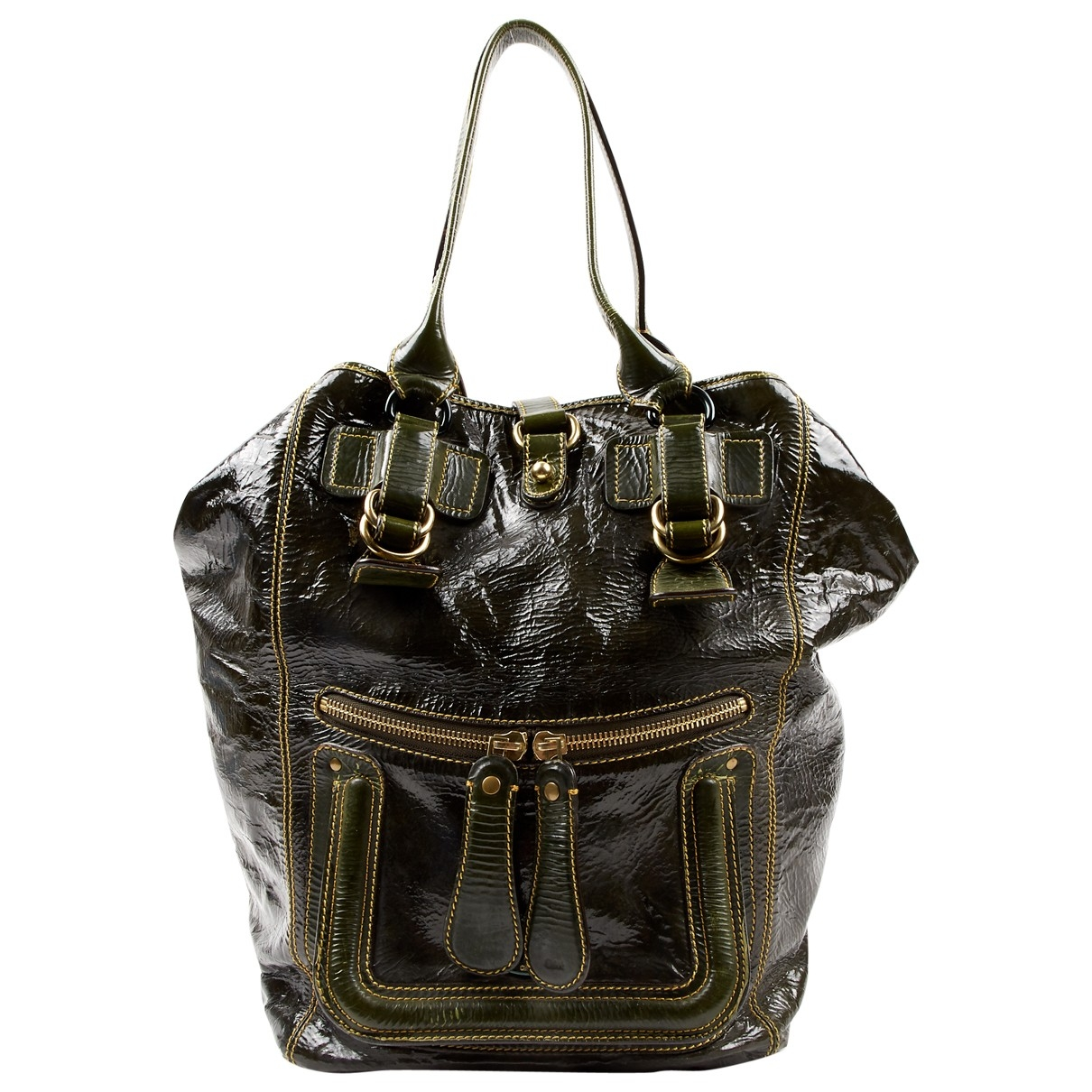 Chloé \N Khaki Patent leather handbag for Women \N