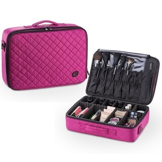 KIOTA Makeup Case Cosmetic Travel Storage Organizer Bag with Dividers (Orchid)