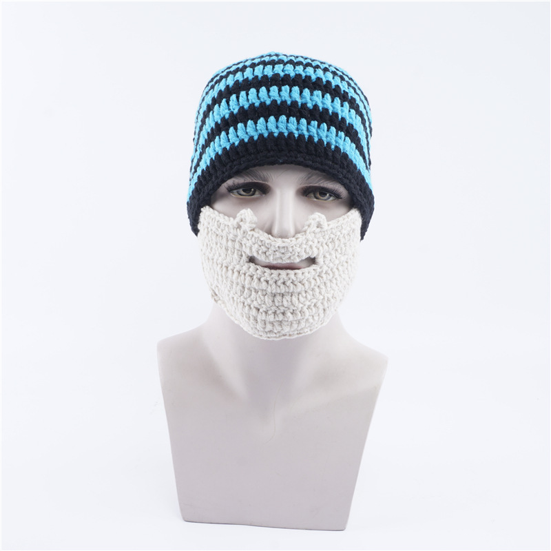 Hooded Knit Hat Autumn and Winter Warm Beard Mask Wool Hat