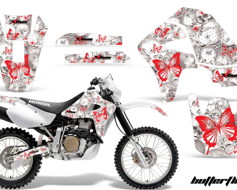 AMR Racing Dirt Bike Graphics Kit Decal Sticker Wrap For Honda XR650R 2000-2010?BUTTERFLIES RED WHITE
