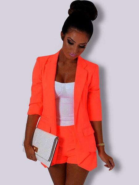 Milanoo Women Blazer Jacket Long Sleeve Pockets Rose Three Quarter Sleeve Casual Blazer