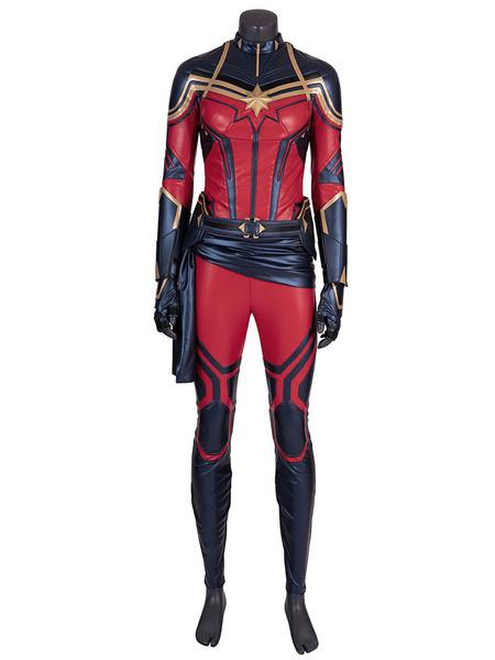 Milanoo Halloween Carnaval The Avengers 4 Endgame Cosplay Capitan Marvel Marvel Film Conjunto de traje de cuero de PU Faux Leather Marvel Comics