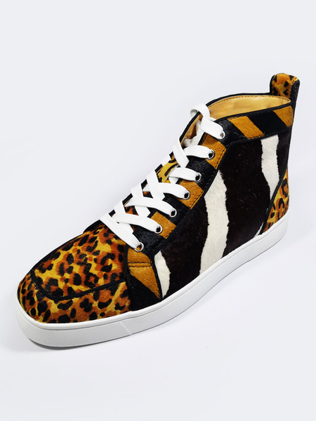 Milanoo Leopard Printed Mens Sneakers 2020 Horse Hair Round Toe Lace Up High Top Skate Shoes